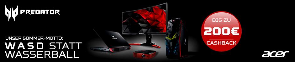 Acer Predator: Unser Sommer Motto: W A S D statt Wasserball; Bis zu 200 Euro Cashback auf ausgewählte Produkte.