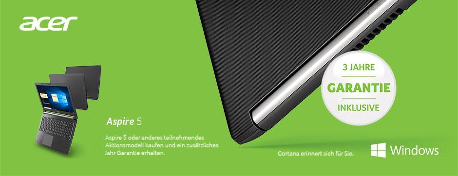 Acer Aspire 5 oder anderes teilnehmendes Aktionsmodell kaufen und ein zusätzliches Jahr Garantie erhalten